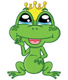 Cute cartoon charmed frog Stock Images