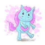 Cute cartoon cheerful blau horse, pony. Vector illustration Stock Photo
