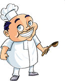 Cute cartoon chef holding a ladle Royalty Free Stock Photos