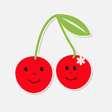 Cute cartoon cherries with happy faces. Card. Royalty Free Stock Images
