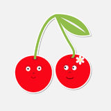 Cute cartoon cherry couple with happy faces. Card. Royalty Free Stock Photography