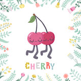 Cute cartoon cherry illustration with flowers. Royalty Free Stock Photography