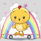 Cute Cartoon Chick with skateboard. On a rainbow background vector illustration