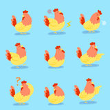 Cute cartoon chicken. Do different emotions with blue background Royalty Free Stock Photos