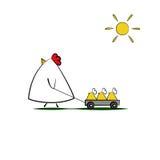 Cute cartoon Chicken family walking Stock Photo