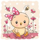 Cute Chicken with flowers and butterflies. Cute Cartoon Chicken with flowers and butterflies royalty free illustration