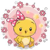 Cute chicken girl with a bow. Cute Cartoon chicken girl with a bow in a flowers frame vector illustration