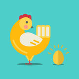 Cute cartoon chicken and gold egg Royalty Free Stock Photography