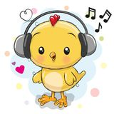 Cute cartoon Chicken with headphones. On a white background vector illustration