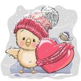 Cute Cartoon Chicken in a knitted cap Stock Photos