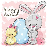 Cute Cartoon Chicken rabbit  and egg Stock Image