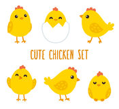 Cute cartoon chicken set. Funny yellow chickens in different poses, vector illustration royalty free illustration