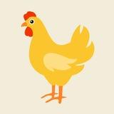 Cute cartoon chicken vector illustration. Cartoon chicken bird on background. Chicken, bird, farm bird. Vector chicken farm animal. Cute chicken vector royalty free illustration
