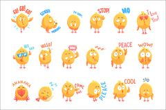 Cute cartoon chickens characters with different emotions and phrases set of vector Illustrations Vector Illustration