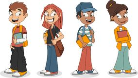 Cute cartoon children with books. Teenager students Royalty Free Stock Photography