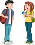 Cute cartoon children with books. Teenager students Stock Image