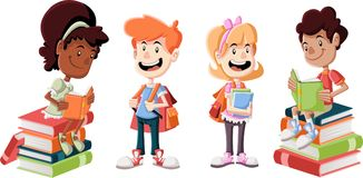 Cute cartoon children with books. Students Royalty Free Stock Photos