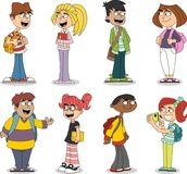 Cute cartoon children with books. Teenager students Royalty Free Stock Photo