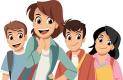 Cute cartoon children with books. Teenager students Royalty Free Stock Image