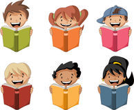 Cute cartoon children reading books. Royalty Free Stock Images