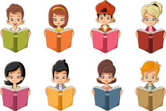 Cute cartoon children reading books. Stock Photography