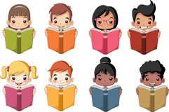 Cute cartoon children reading books. Royalty Free Stock Photos