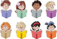 Cute cartoon children reading books. Stock Photos