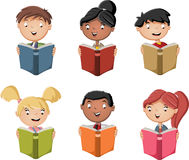 Cute cartoon children reading books. Students Royalty Free Stock Photo