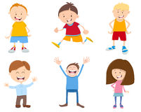 Cute cartoon children set. Cartoon Illustration of Cute Children Characters Set Royalty Free Stock Images