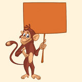 Cute cartoon chimpanzee holding blank wooden sign. Vector illustration of a funny monkey with empty wood board. stock image