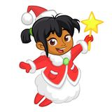 Cute cartoon Christmas afro-american or arab angel character flying and holding star. Vector illustration of happy winter fairy. Royalty Free Stock Image