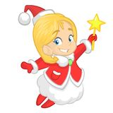 Cute cartoon Christmas angel character flying and holding star. Vector illustration of happy winter blond fairy outlined. Royalty Free Stock Photo