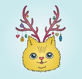 Cute cartoon Christmas cat with deer horns Stock Image