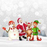 Merry Christmas greeting card with cartoon characters stock illustration