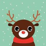 Cute cartoon christmas Deer. Beautiful cute xmas deer. Vector cartoon Illustration Royalty Free Stock Photos