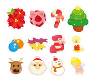 Cute cartoon Christmas element icon set Stock Image