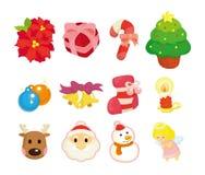 Cute cartoon Christmas element icon set Stock Image