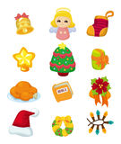 Cute cartoon Christmas element icon set Royalty Free Stock Images