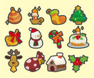 Cute cartoon Christmas element icons Stock Photos