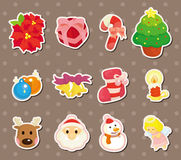 Cute cartoon Christmas element stickers Royalty Free Stock Images