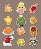 Cute cartoon Christmas element stickers Stock Image
