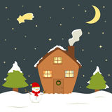 Cute cartoon christmas eve holiday house winter snow, snowman and pine tree gift card illustration Stock Photos