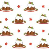 Cute cartoon christmas pudding seamless vector pattern background illustration. Cute cartoon christmas pudding seamless pattern background illustration Royalty Free Stock Photography