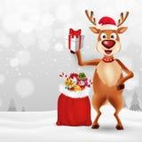 Merry Christmas greeting card with cartoon Reindeer vector illustration