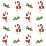 Cute cartoon christmas seamless vector pattern background illustration with candy cane. Cute cartoon christmas seamless pattern background illustration with Stock Image