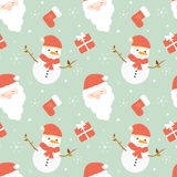 Cute cartoon christmas seamless pattern background illustration with santa claus and snowman Stock Photos