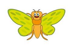 Cute cartoon cicada. Yellow green and orange cicada vector illustration