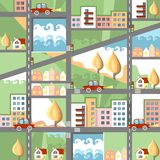 Cute cartoon city map. With houses and cars Stock Photos