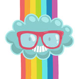 Cute cartoon cloud in hipster glasses. Royalty Free Stock Photography