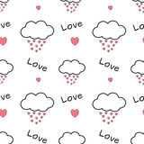 Cute cartoon clouds drops hearts lovely romantic seamless pattern background illustration Royalty Free Stock Images